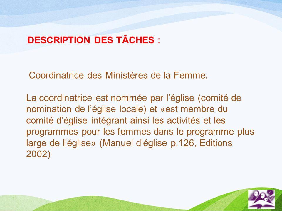 DESCRIPTION DES TÂCHES :
