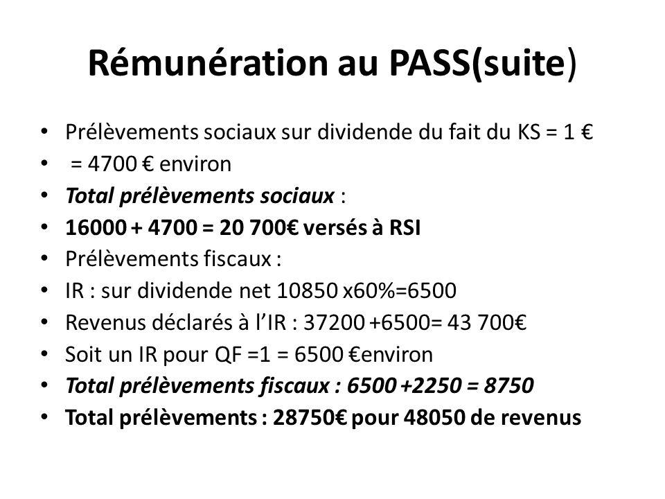 Rémunération au PASS(suite)