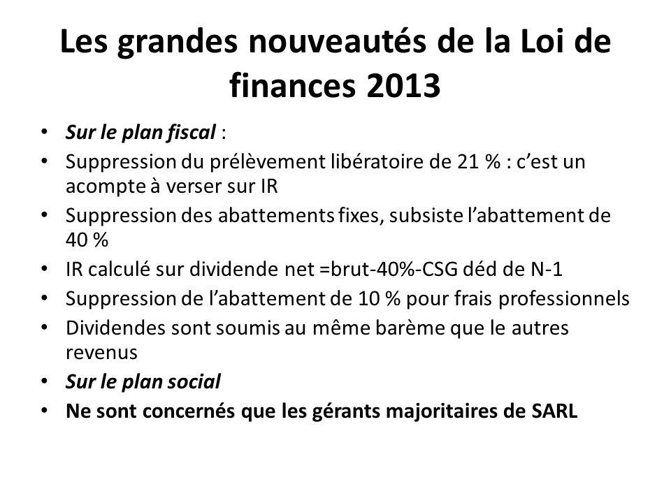 Les grandes nouveautés de la Loi de finances 2013