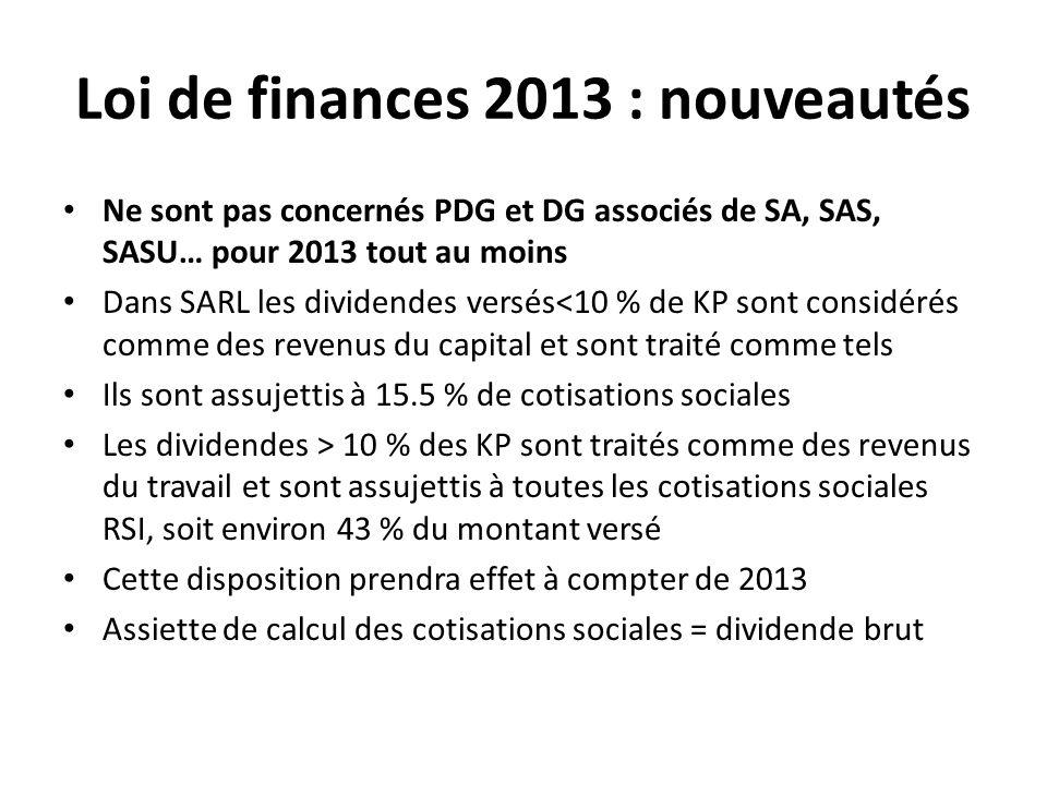 Loi de finances 2013 : nouveautés