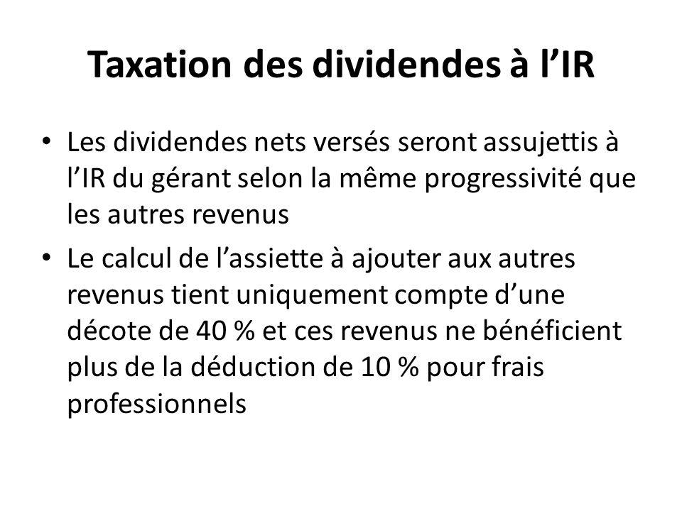 Taxation des dividendes à l'IR