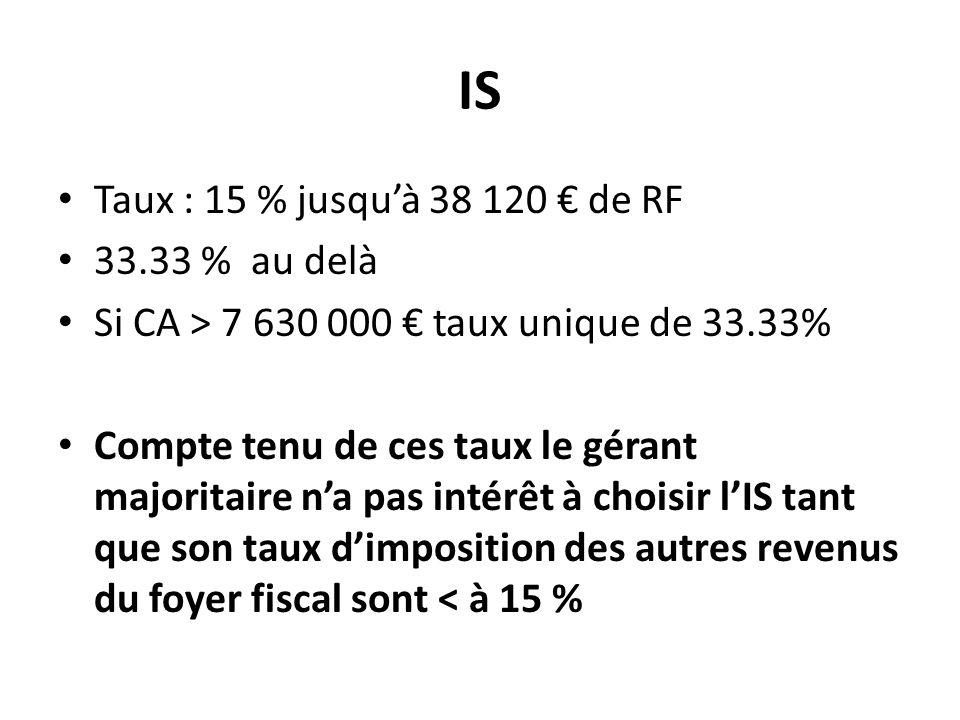 IS Taux : 15 % jusqu'à 38 120 € de RF 33.33 % au delà