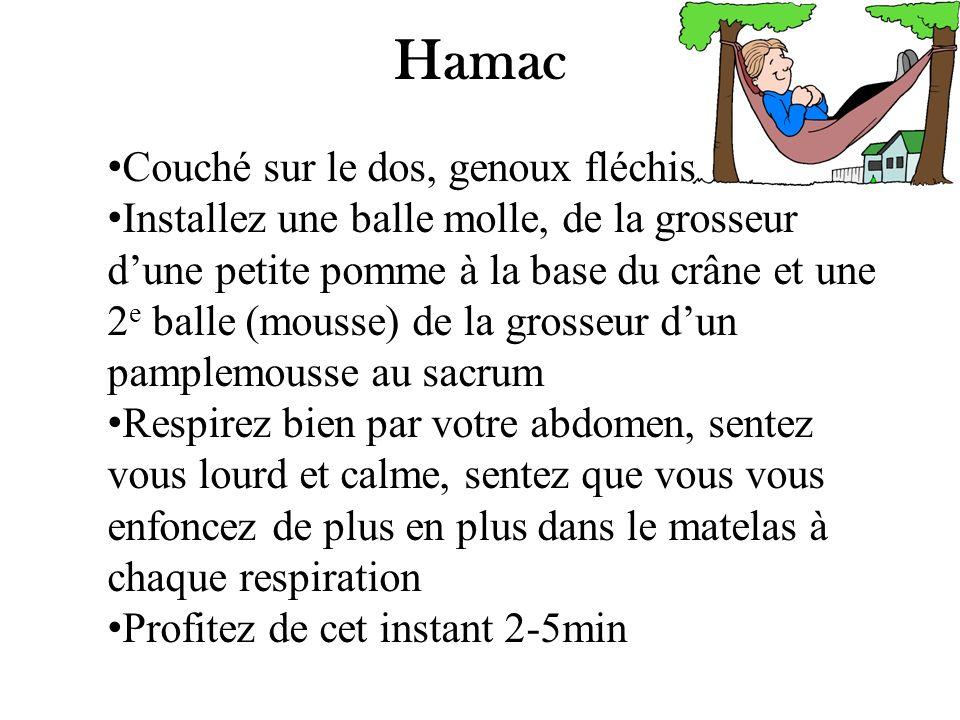 Hamac Couché sur le dos, genoux fléchis