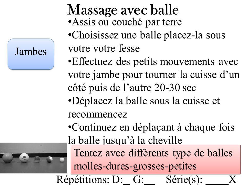 Massage avec balle Assis ou couché par terre