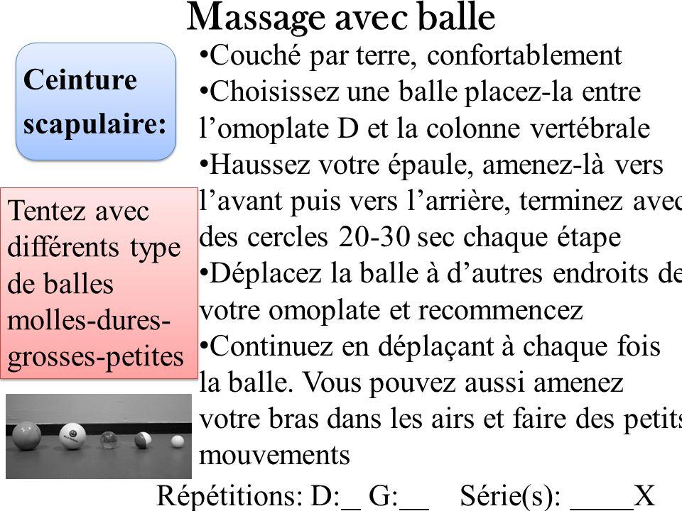 Massage avec balle Couché par terre, confortablement