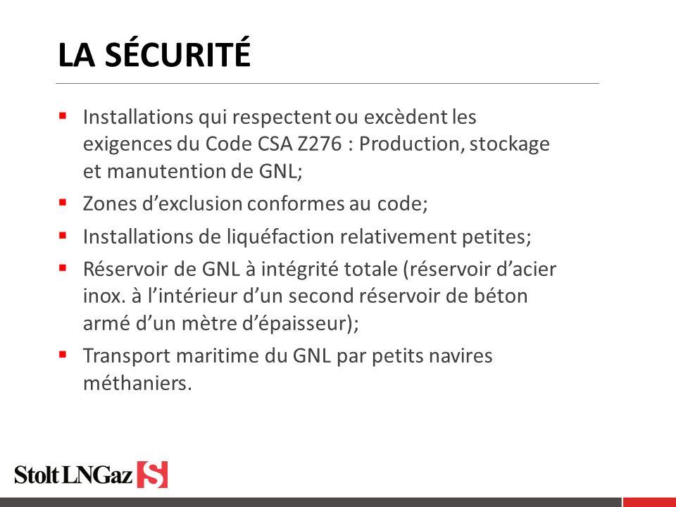 La SÉCURITÉ Installations qui respectent ou excèdent les exigences du Code CSA Z276 : Production, stockage et manutention de GNL;
