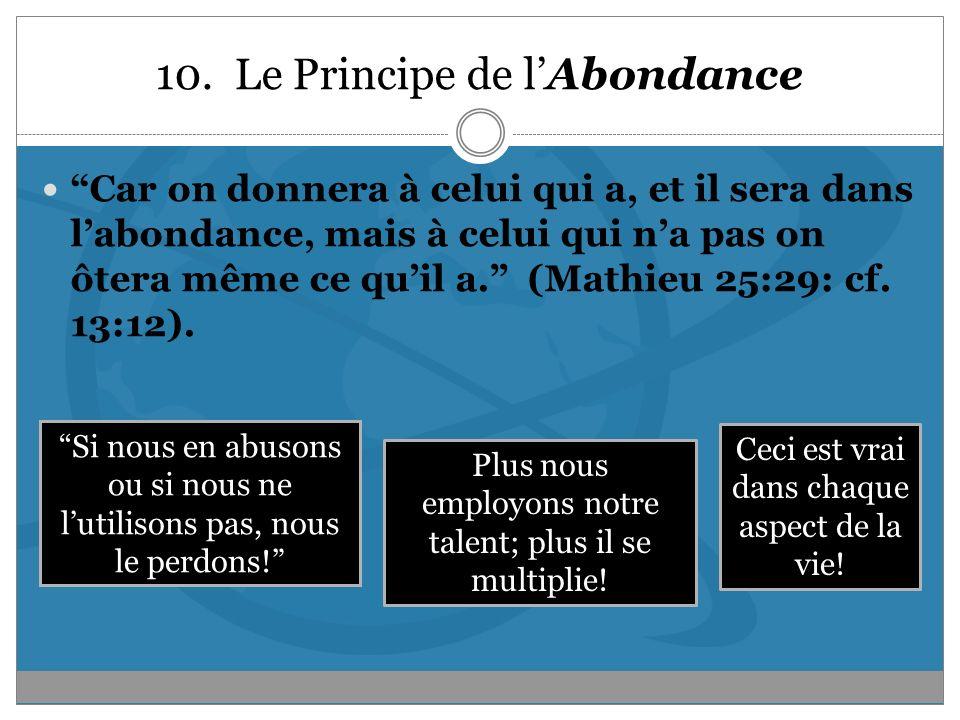 10. Le Principe de l'Abondance
