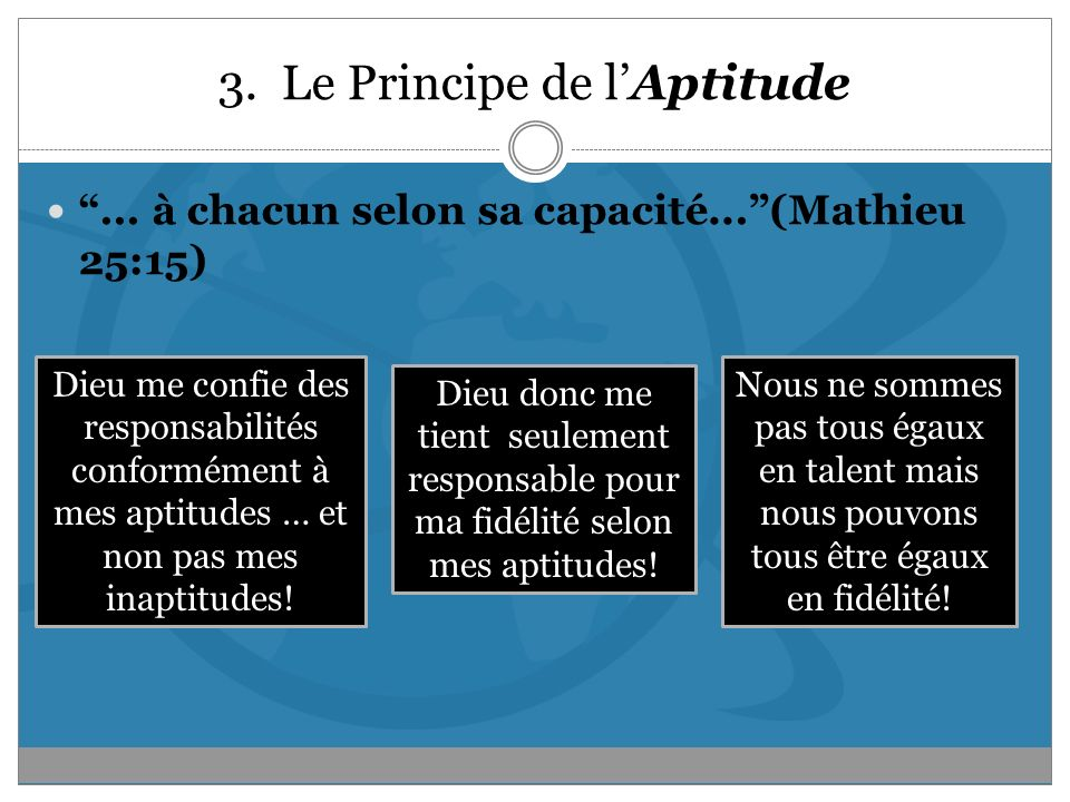 3. Le Principe de l'Aptitude