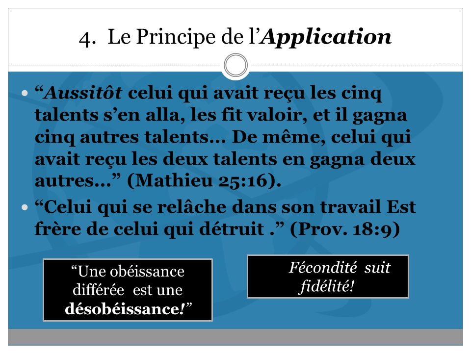 4. Le Principe de l'Application