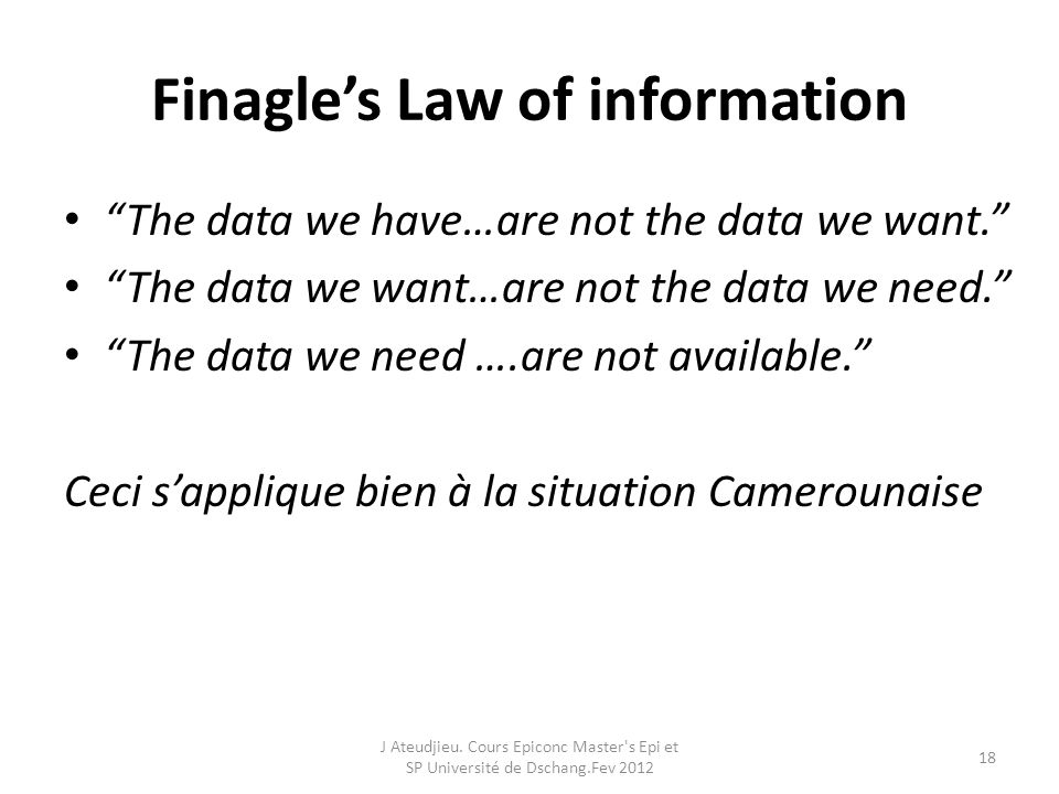 Finagle's Law of information