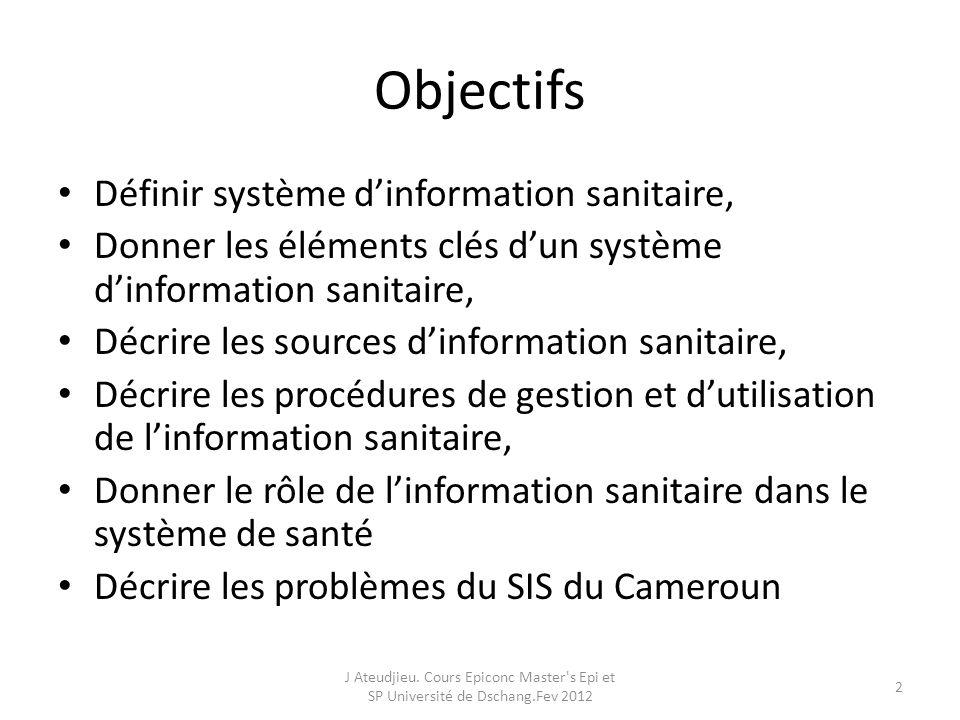 Objectifs Définir système d'information sanitaire,
