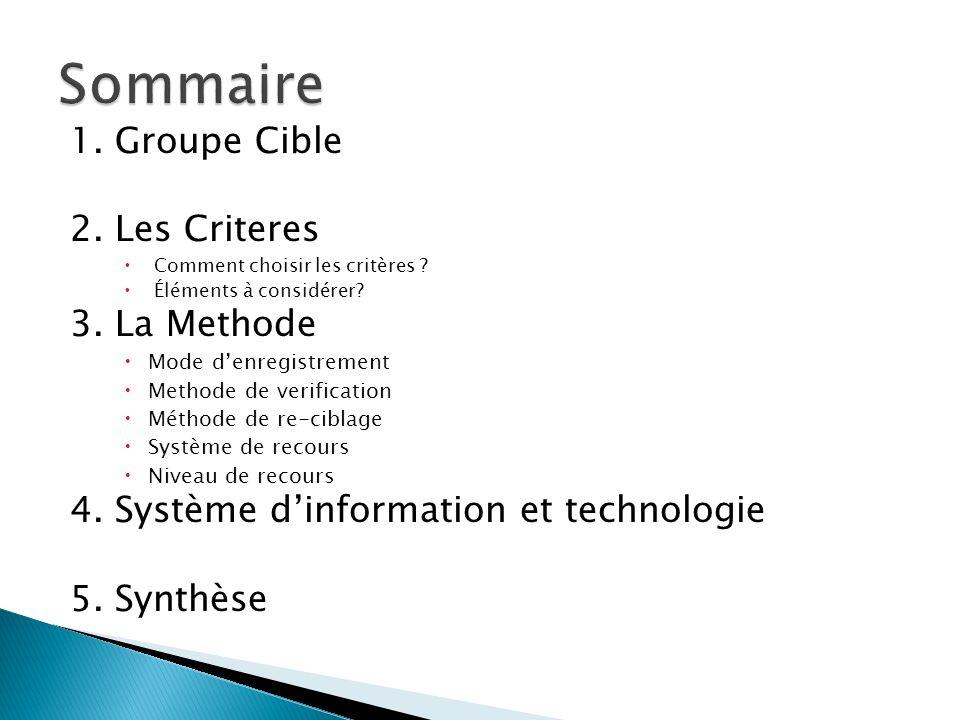 Sommaire 1. Groupe Cible 2. Les Criteres 3. La Methode