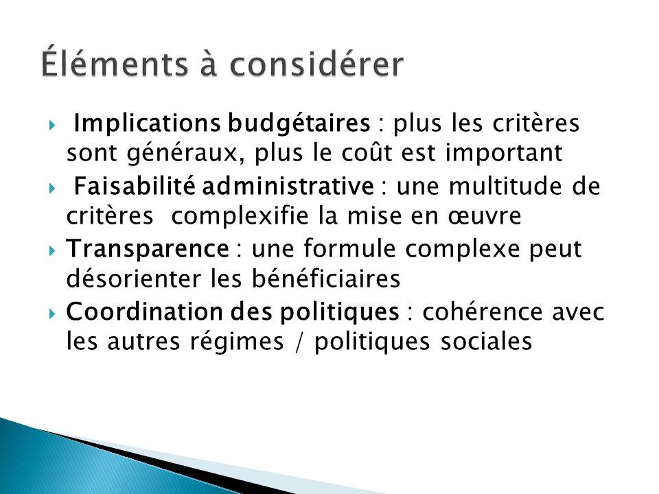 Éléments à considérer Implications budgétaires : plus les critères sont généraux, plus le coût est important.