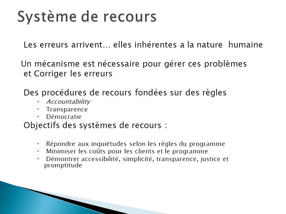 Système de recours Les erreurs arrivent… elles inhérentes a la nature humaine. Un mécanisme est nécessaire pour gérer ces problèmes.