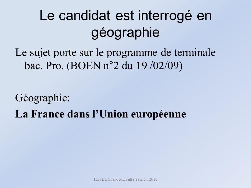 Le candidat est interrogé en géographie