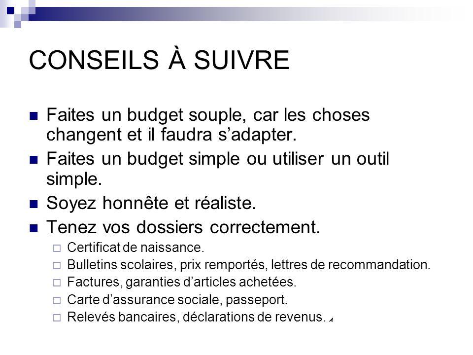 CONSEILS À SUIVRE Faites un budget souple, car les choses changent et il faudra s'adapter. Faites un budget simple ou utiliser un outil simple.