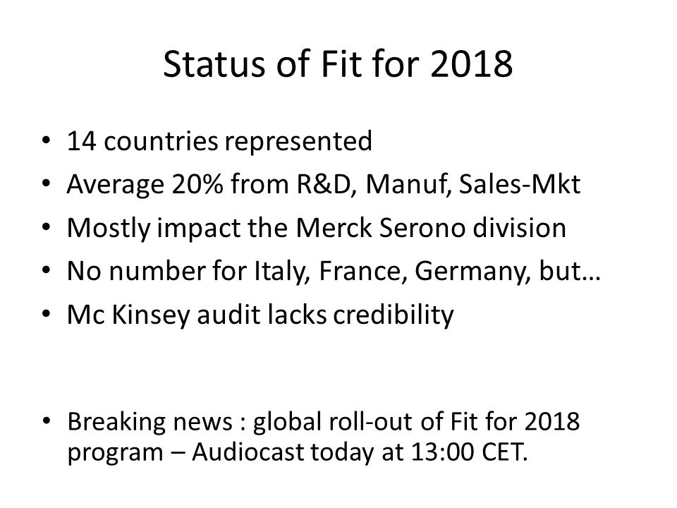 Status of Fit for 2018 14 countries represented