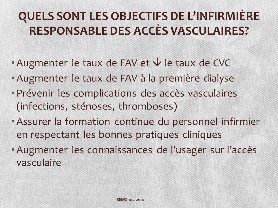 QUELS SONT LES OBJECTIFS DE L'INFIRMIÈRE RESPONSABLE DES ACCÈS VASCULAIRES