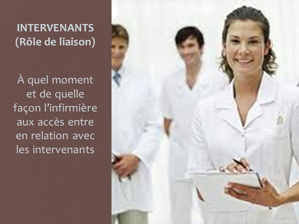 INTERVENANTS (Rôle de liaison)