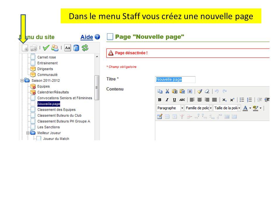 Dans le menu Staff vous créez une nouvelle page