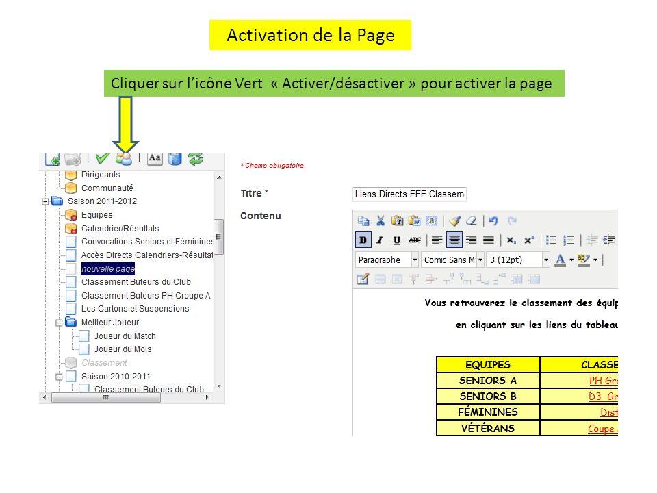 Activation de la Page Cliquer sur l'icône Vert « Activer/désactiver » pour activer la page