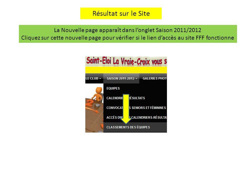 La Nouvelle page apparaît dans l'onglet Saison 2011/2012