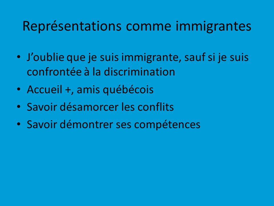 Représentations comme immigrantes