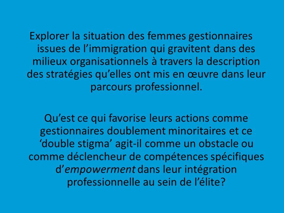 Explorer la situation des femmes gestionnaires issues de l'immigration qui gravitent dans des milieux organisationnels à travers la description des stratégies qu'elles ont mis en œuvre dans leur parcours professionnel.