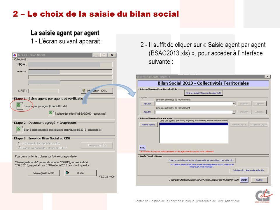 2 – Le choix de la saisie du bilan social