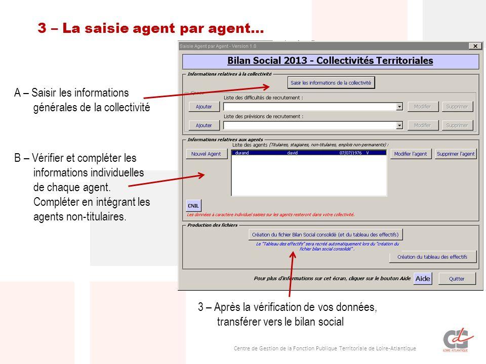 3 – La saisie agent par agent…