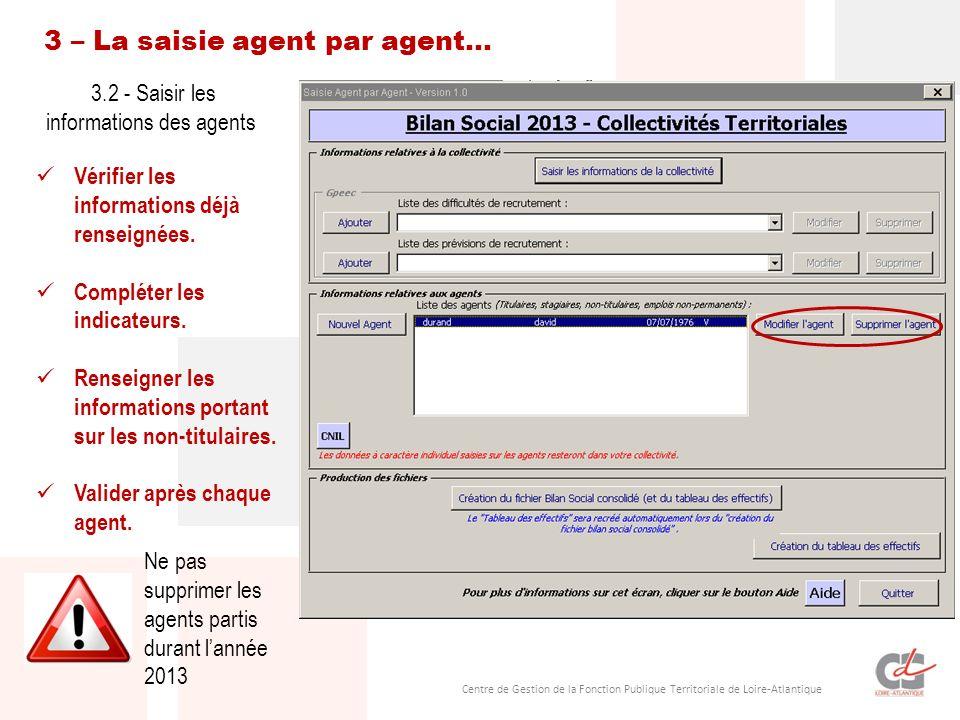 3.2 - Saisir les informations des agents