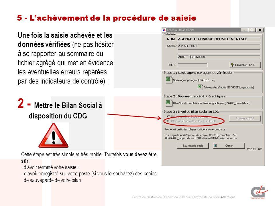 2 - Mettre le Bilan Social à disposition du CDG