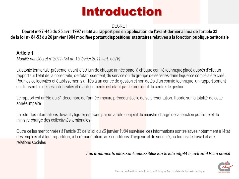 Introduction Article 1 DECRET