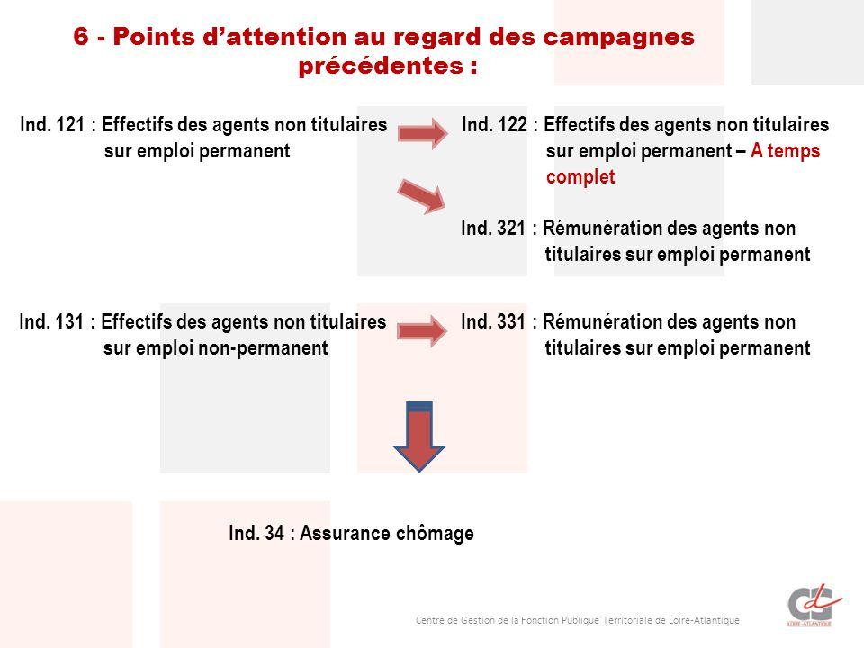 6 - Points d'attention au regard des campagnes précédentes :