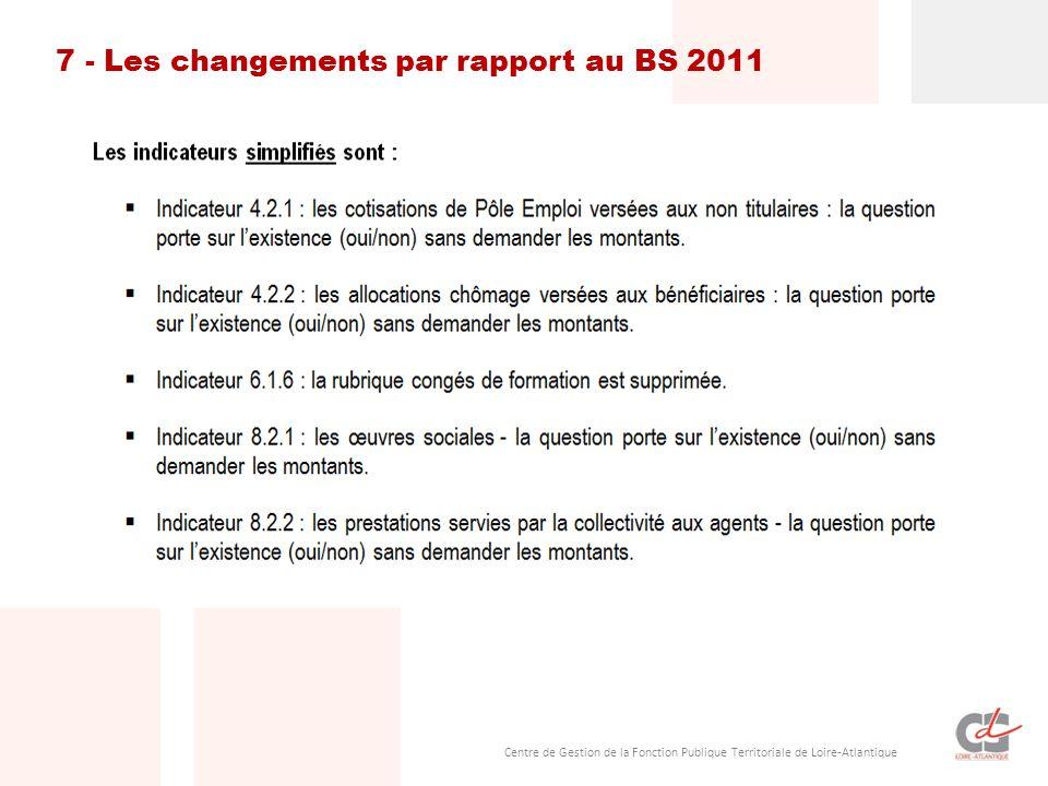 7 - Les changements par rapport au BS 2011