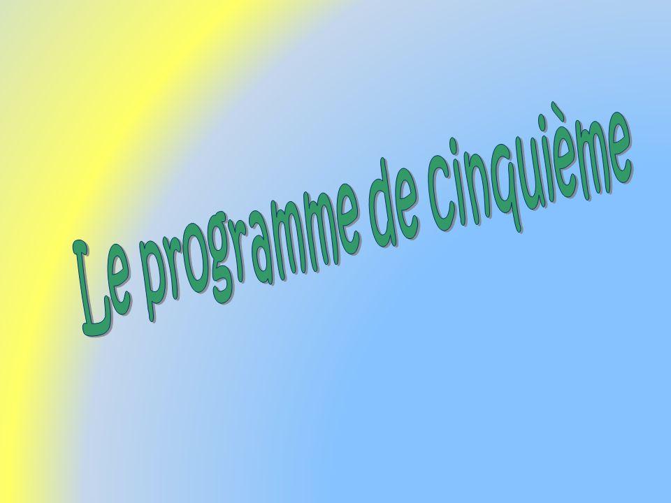 Le programme de cinquième