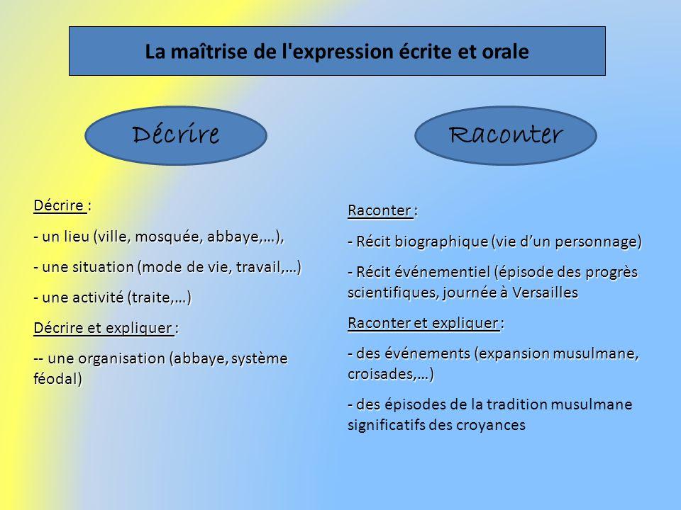 La maîtrise de l expression écrite et orale