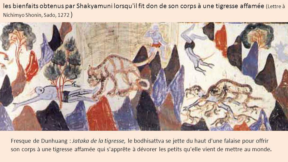 les bienfaits obtenus par Shakyamuni lorsqu il fit don de son corps à une tigresse affamée (Lettre à Nichimyo Shonin, Sado, 1272 )
