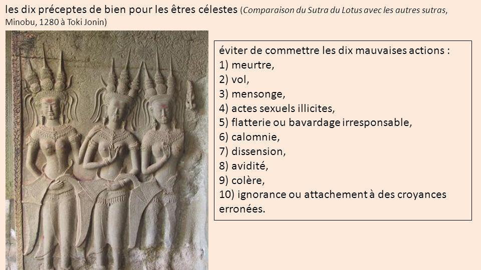 les dix préceptes de bien pour les êtres célestes (Comparaison du Sutra du Lotus avec les autres sutras, Minobu, 1280 à Toki Jonin)
