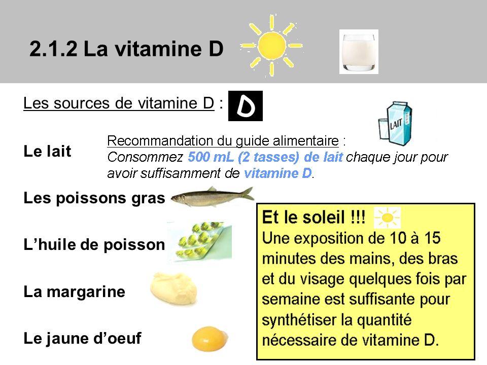 D 2.1.2 La vitamine D Les sources de vitamine D : Le lait