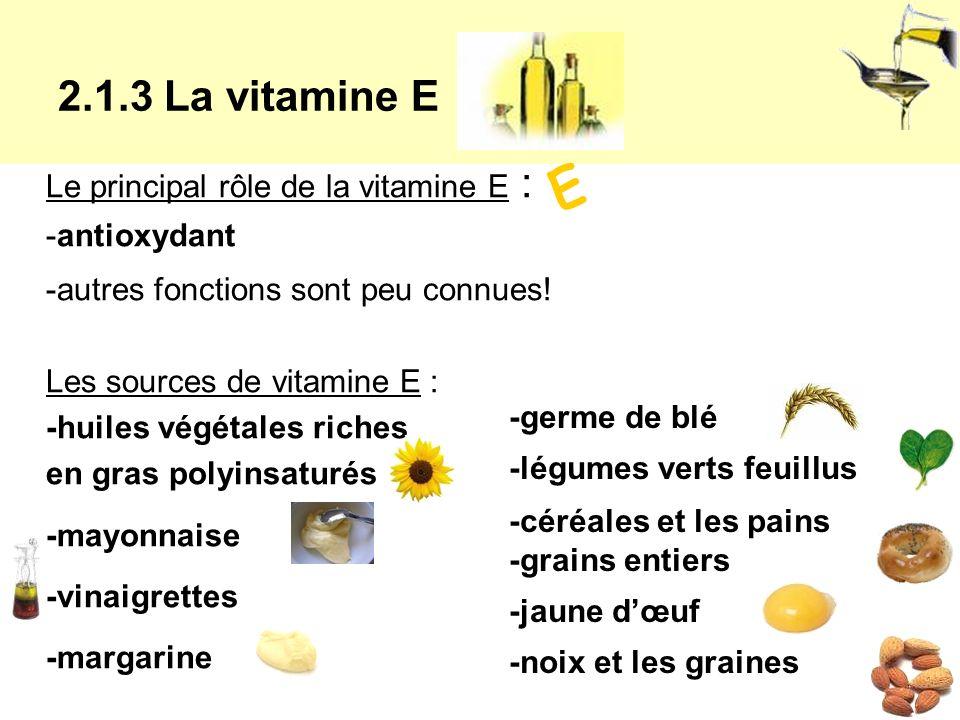 E 2.1.3 La vitamine E Le principal rôle de la vitamine E :