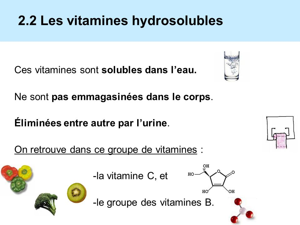 2.2 Les vitamines hydrosolubles