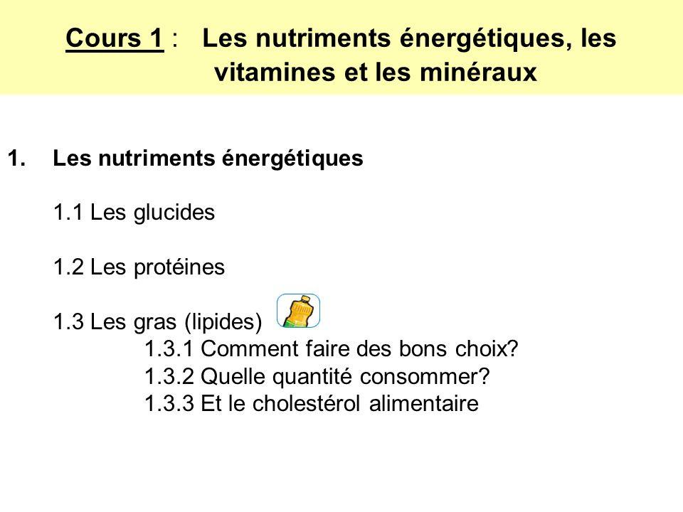 Cours 1 : Les nutriments énergétiques, les vitamines et les minéraux