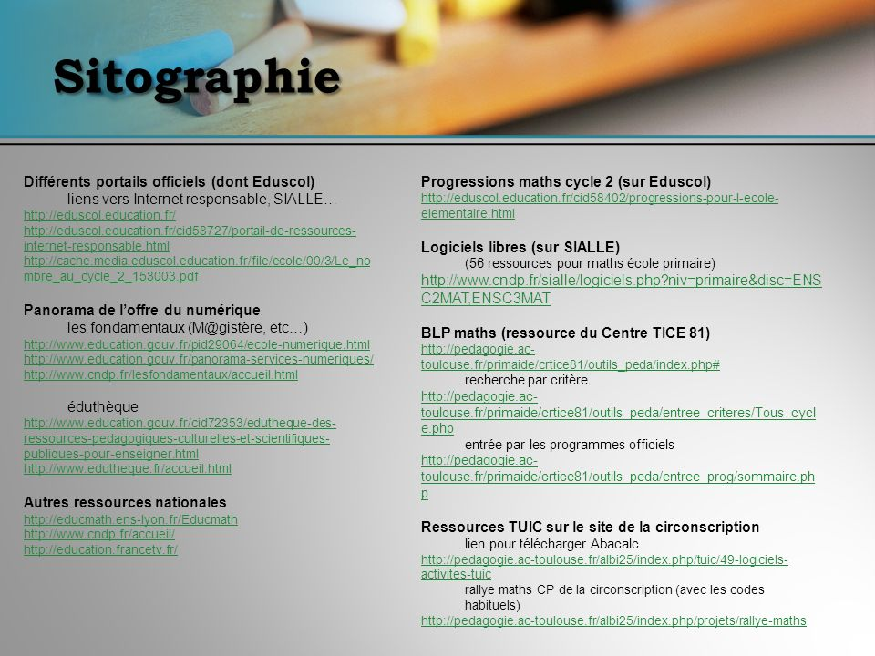 Sitographie Différents portails officiels (dont Eduscol)