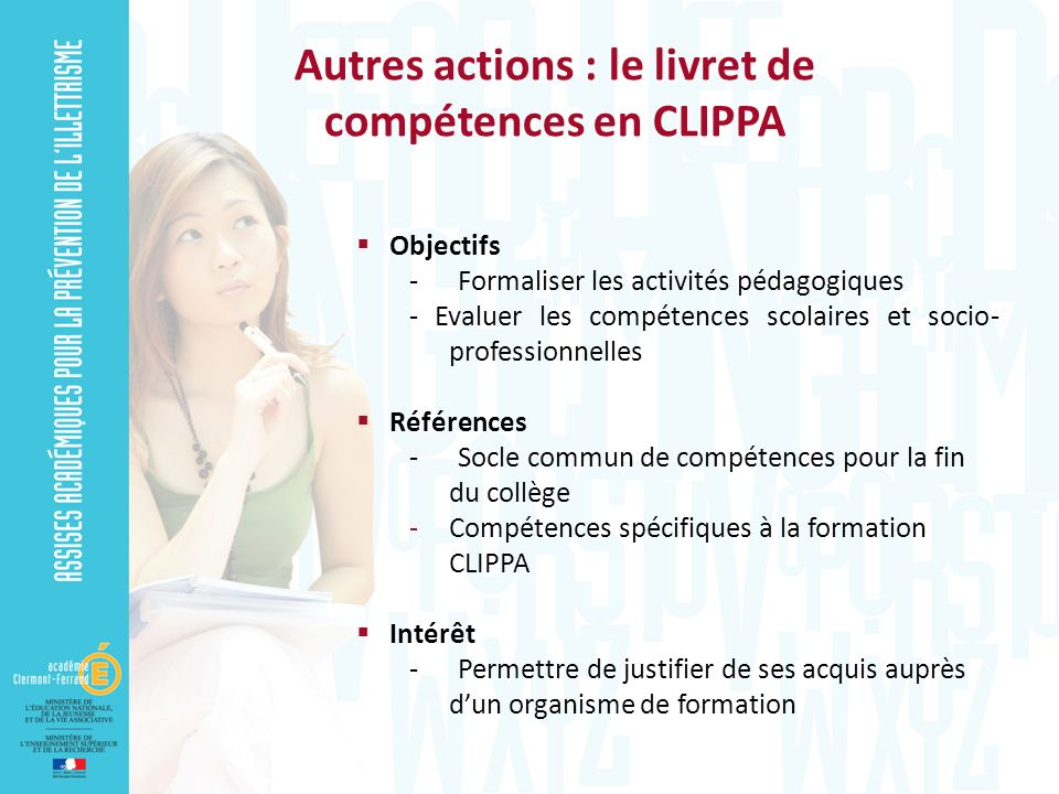 Autres actions : le livret de compétences en CLIPPA