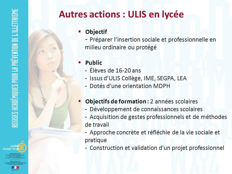 Autres actions : ULIS en lycée