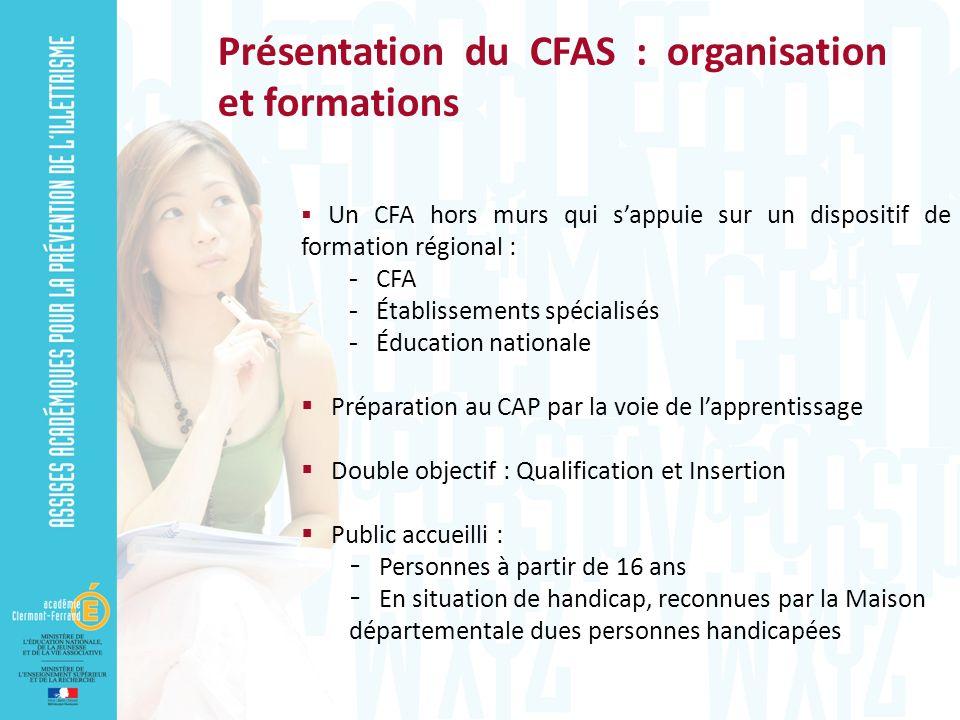 Présentation du CFAS : organisation et formations