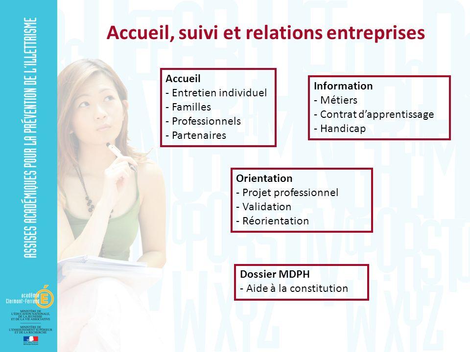 Accueil, suivi et relations entreprises