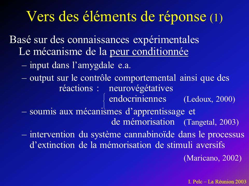 Vers des éléments de réponse (1)