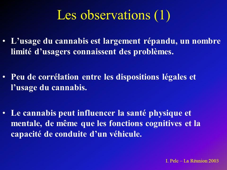 Les observations (1) L'usage du cannabis est largement répandu, un nombre limité d'usagers connaissent des problèmes.